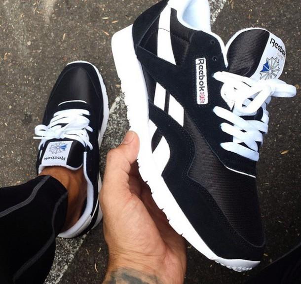shoes black white Reebok