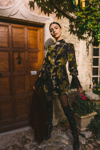 kris chérie blogger romper shoes tights jacket dress coat sunglasses fall outfits bell sleeve dress mini dress fall dress boots over the knee boots