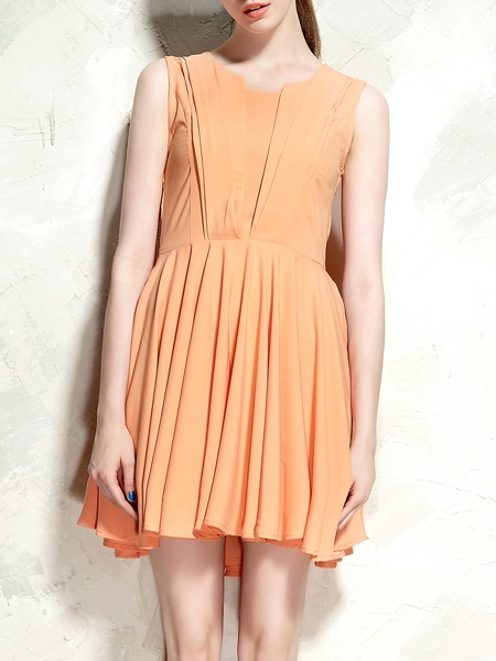 Cute Drape Dress In Orange | Choies
