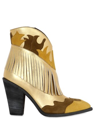 metallic boots leather boots leather gold shoes