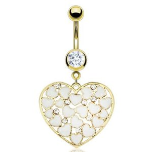 Amazon.com: Hearts Navel Ring - Gold Plated Navel Ring with Multi White Enamel Hearts & CZs in a Heart Loop 14G: Jewelry