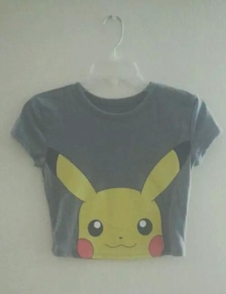 t-shirt tank top grey yellow pikachu cute pokemon