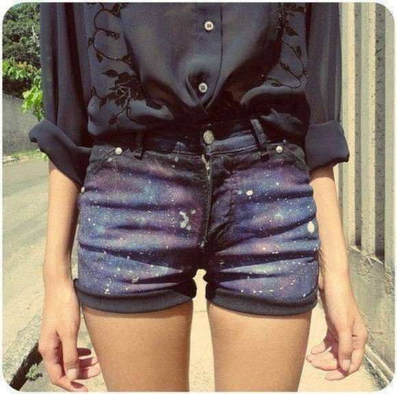 shorts galaxy shorts galaxy black blouse print shorts throught blouse hippie hipster cosmic stars diy black blouse clothes vintage urban outfitters zara elegant High waisted shorts pants shoes boho coachella black shirt chiffon denim shorts grunge