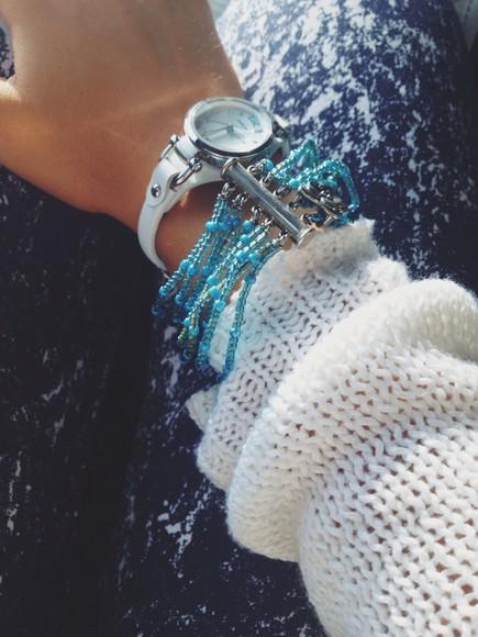 leggings white jewels watch bracelets