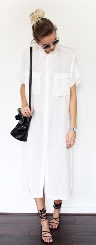 dress white dress button up