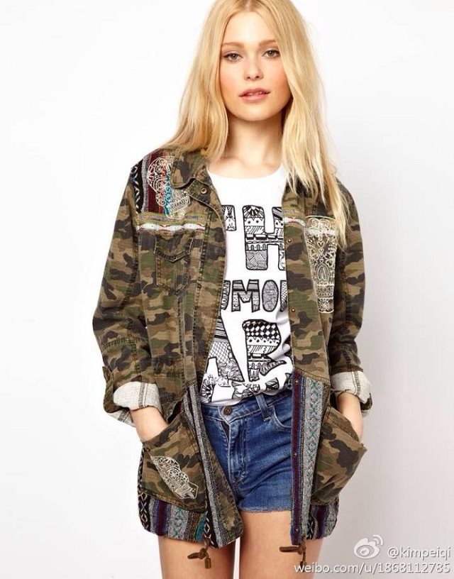 New 2014 Fashion Women Clothing Camouflage Skull Print Coat Women Vintage Adjustable Waist Pocket Pattern Winter