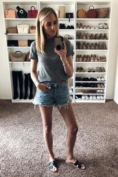 fashionjackson,blogger,top,shorts,shoes,slide shoes,denim shorts,grey t-shirt