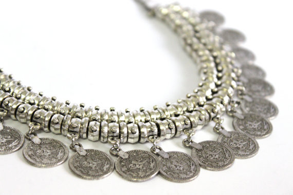 Necklace silver plated coin two rows