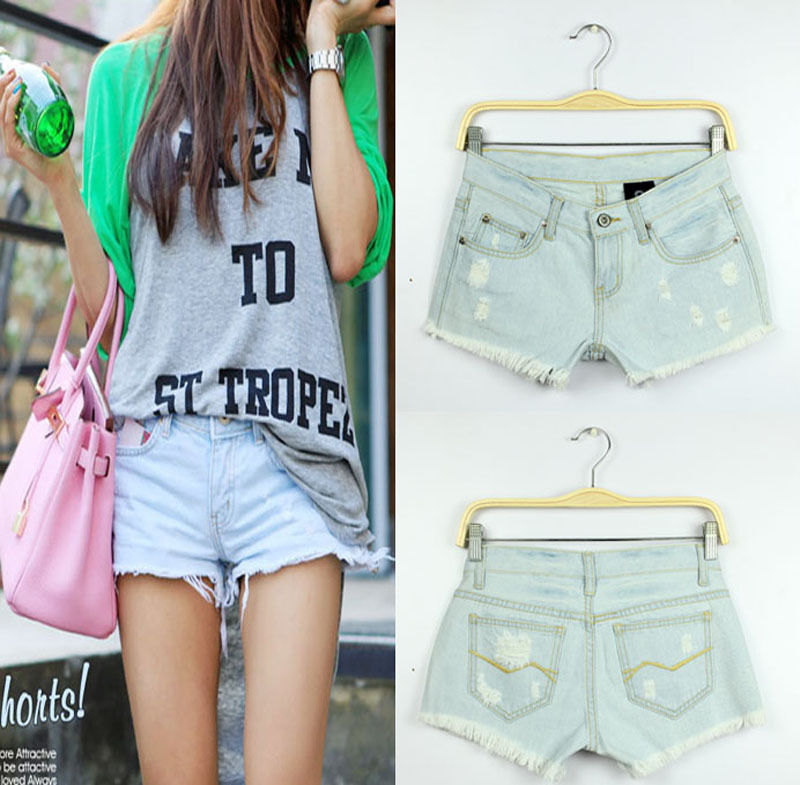 Tempting womens light blue torn made old white-washed cool mini denim shorts s1   eBay