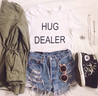 t-shirt white t-shirt black qoute quote on it top shorts jacket