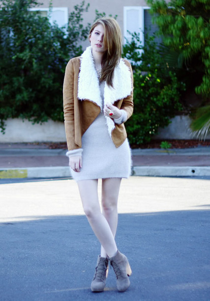 these days sweater dress jewels jacket shoes brown shearling jacket shearling jacket shearling winter jacket fluffy grey dress grey boots boots winter outfits