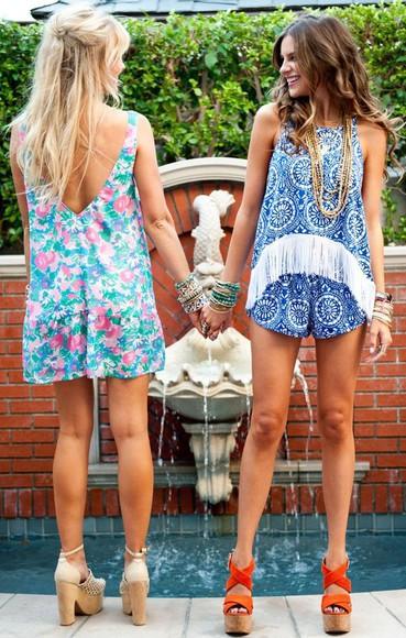 fringe romper blue romper white fringe high neck
