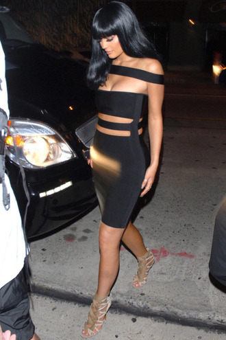 dress bandage dress black dress bodycon dress kylie jenner sandals little black dress cut-out