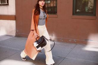 natalie off duty blogger pants t-shirt bag shoes
