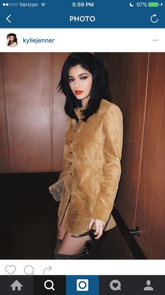 suede tan kylie jenner button up long sleeve dress brown dress make-up kardashians keeping up with the kardashians