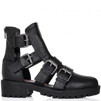 Buy BUFF Block Heel Cut Out Sandal Ankle Boots Black Leather Style Online