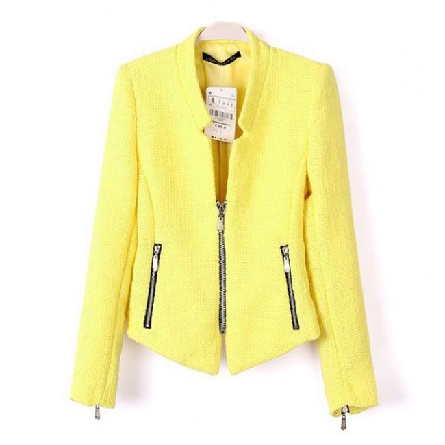 Textured short zippers jacket
