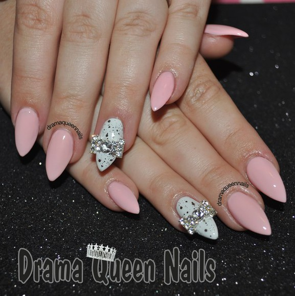 nail polish light pink diamond bow almond nails