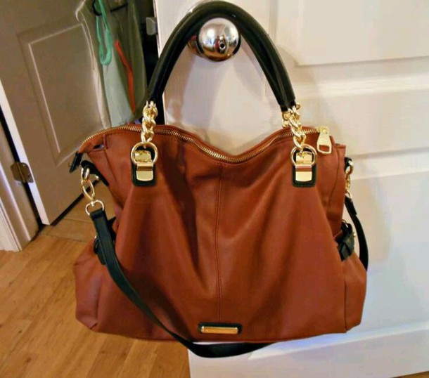 Bag: black and brown, black steve madden purse, gold detail ...
