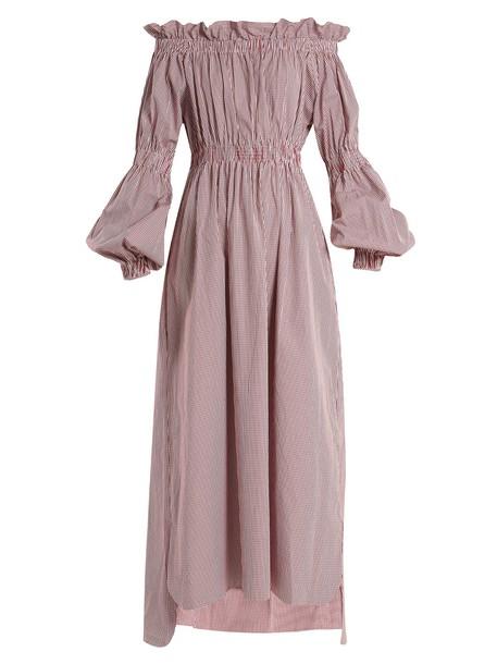 TEIJA dress maxi dress maxi cotton gingham white burgundy