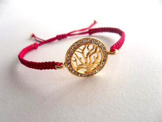 girly jewels handmadejewelry fuchsia bracelet tree of life macrame bracelet adjustable bracelet womens accessories cool trendy gift ideas