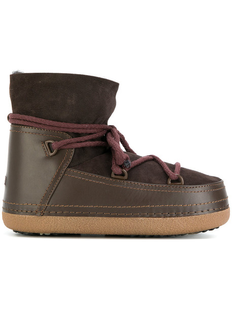 INUIKI snow boots fur women snow boots lace leather suede brown shoes