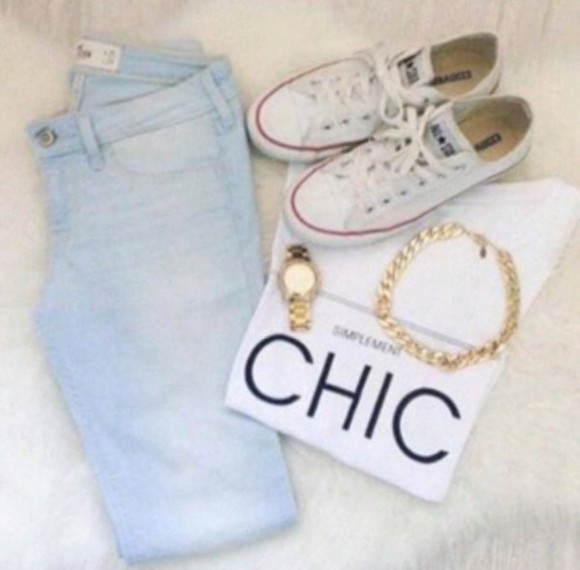 chic top t-shirt jeans converse sneakers