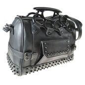 bag,biker,brass knuckles,studded black leather purse,tote bag,punk rock,satchel bag