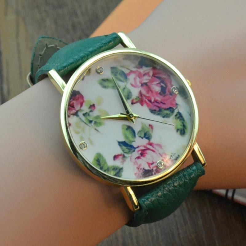 Candy Color Women Retro Floral Pattern Print Leather Dial Quartz Wrist Watch | eBay