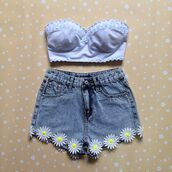 shorts,summer,dress,blue shirt,denim vintage levis,cut off shorts,pink flowers,daisy,High waisted shorts,clothes,tank top,cute shorts,denim,trendy,fall outfits,cool,cute,hippie,hipster,vintage,shirt,jeans,high waisted skinny light blue jeans,blue,flowers,floral,flowered shorts,white,summer outfits,bandeau,blouse,top,crop tops,sunflower,denim shorts,high waisted denim shorts with daisies,blue tank top