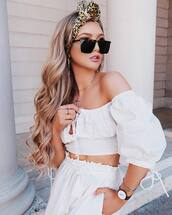 top,off the shoulder top,white pants,high waisted pants,sunglasses,accessories