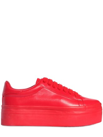 sneakers platform sneakers leather red shoes