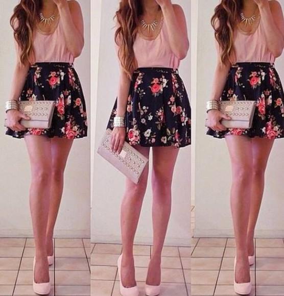 amazing bag wallet skirt floral floral skirt black black skirt summer outfits pink skater skirt blouse