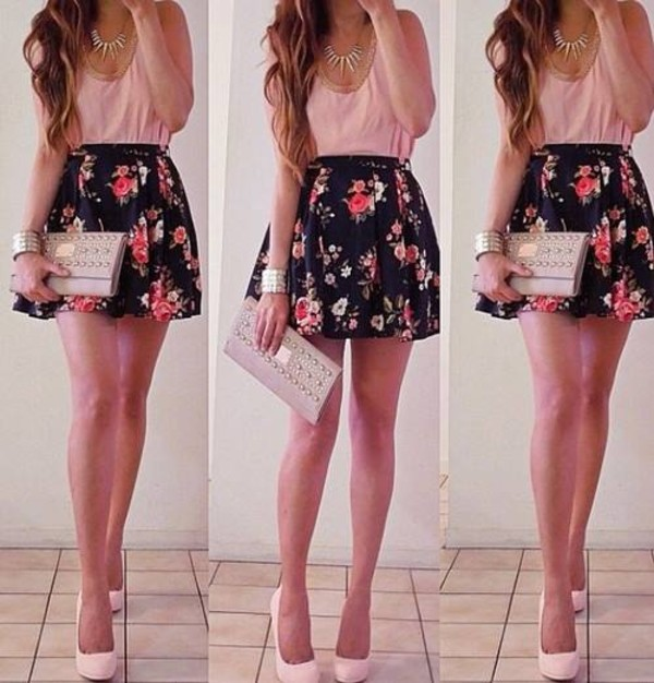 skirt flowers flower skirt black black skirt summer bag dress pink skater skirt blouse wallet amazing
