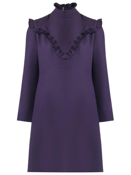 Fendi dress women silk wool purple pink