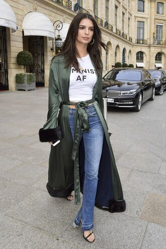 coat duster coat top jeans emily ratajkowski model off-duty streetstyle paris fashion week 2017 fashion week 2017 feminist tshirt t-shirt