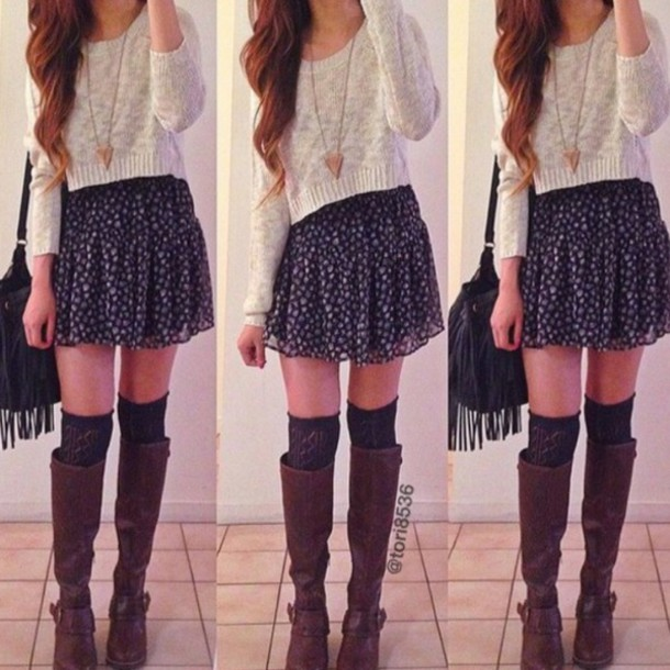 shirt boots bag necklace sweater