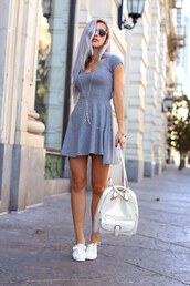 evelinas fashion cafe,dress,shoes,sunglasses,jewels,bag,warby parker,grey,summer dress,jersey dress,body chain