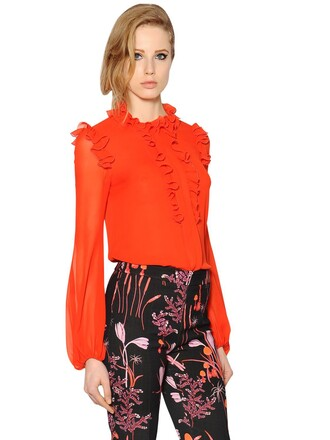 shirt silk orange top