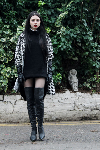 ams la la land blogger gloves houndstooth sweater dress thigh high boots shoes coat