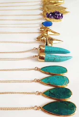 jewels gold necklace gold turquoise turquoise jewelry tooth shark tooth necklace shark tooth crystal sea creatures jewelry necklace