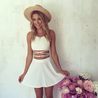 dress white dress scrappy cut two-piece