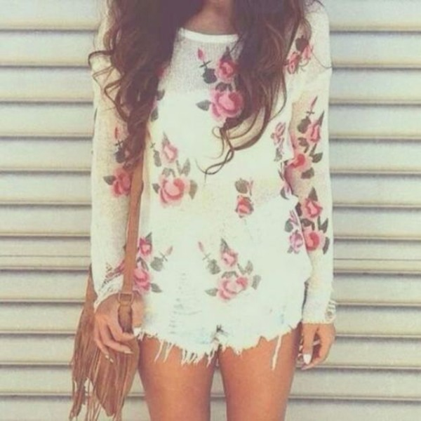 shorts t-shirt big pattern sweater floral