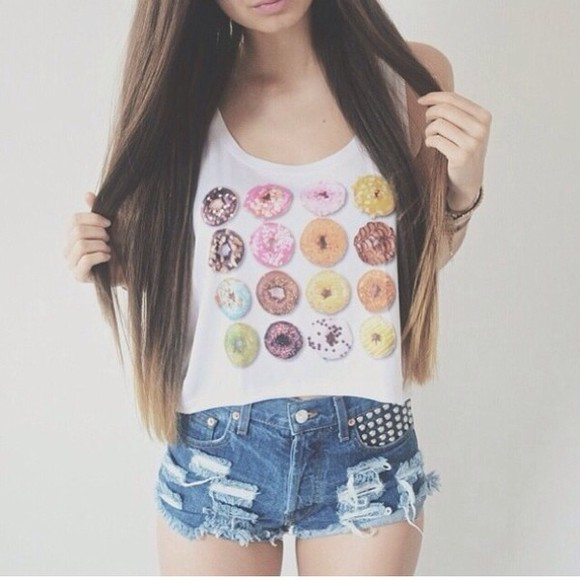 donut top cool girl style shirt shorts tank top blouse donut