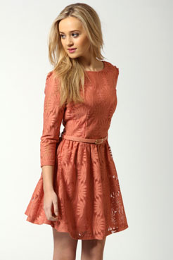 Ruth All Over Zip Back Lace Dress at boohoo.com