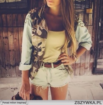 jacket denim jacket shorts camouflage military