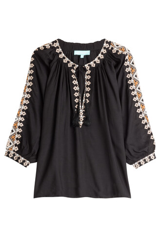 blouse tunic embroidered black top