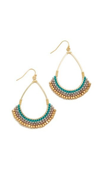 earrings gold teal jewels