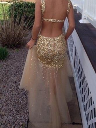 dress prom dress gold open back prom dress sequin dress sequins embelished dress embellished gold sequins gold prom dress fitted dress