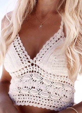 top zaful girly girl girly wishlist summer outfits summer summer top style fashion crochet crochet crop top crochet top white white top blonde hair crop tops crop cropped white crop tops beach platinum hair